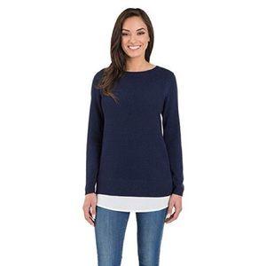 Hilary Radley Navy Sweater with White Trim M